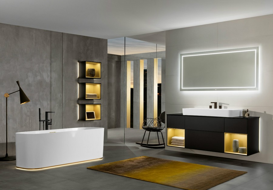 6-1-Villeroy-&-Boch-beige-bathroom-interior-design-wash-basin-vanity-unit-bathtub-wall-mounted-cabinets-with-LED-lights-backlit-wall-recesses-black-faucet-floor-lamp-rectangular-mirror