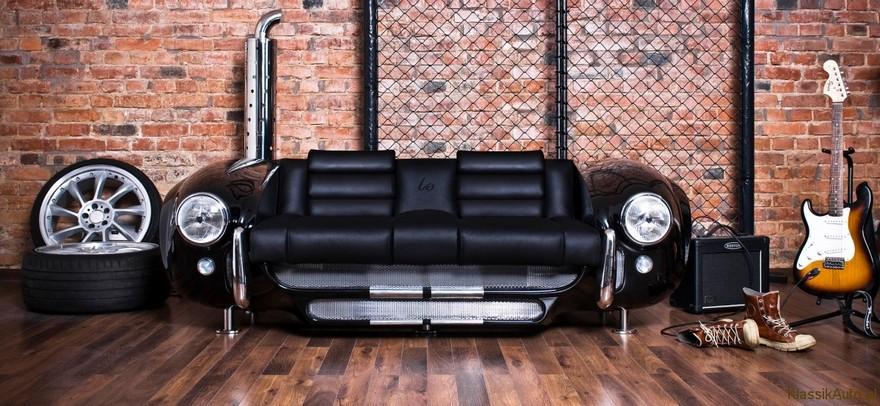 6-1-creative-interesting-non-standard-furniture-design-black-sofa-by-La-Design-Studio-Carroll-Shelby-Cobra-427-retro-car-shaped-faux-brick-wall