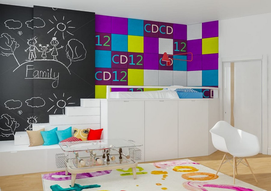 6-1-kids-toddler-room-bedroom-playroom-interior-design-idea-white-loft-bed-table-soccer-table-rug-multicolor-wall-decor-purple-blue-yellow-accents-throw-pillows-chalkbaord-wall-chair