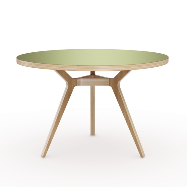 6-2-Täby-round-dining-table-3-inclined-sloped-legs-natural-wood-top-green-painted