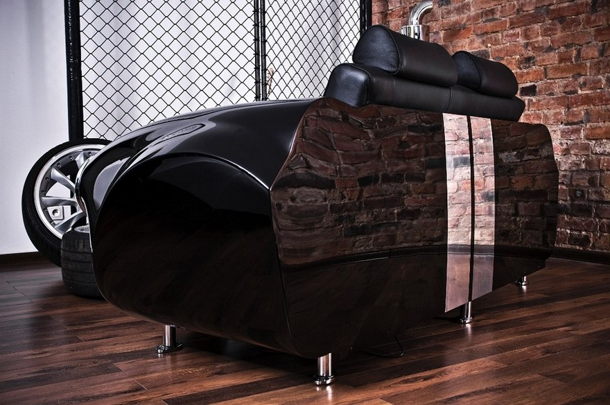 6-2-creative-interesting-non-standard-furniture-design-black-sofa-by-La-Design-Studio-Carroll-Shelby-Cobra-427-retro-car-shaped-faux-brick-wall