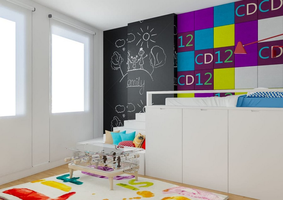 6-2-kids-toddler-room-bedroom-playroom-interior-design-idea-white-loft-bed-table-soccer-table-rug-multicolor-wall-decor-purple-blue-yellow-accents-throw-pillows-chalkbaord-wall-chair