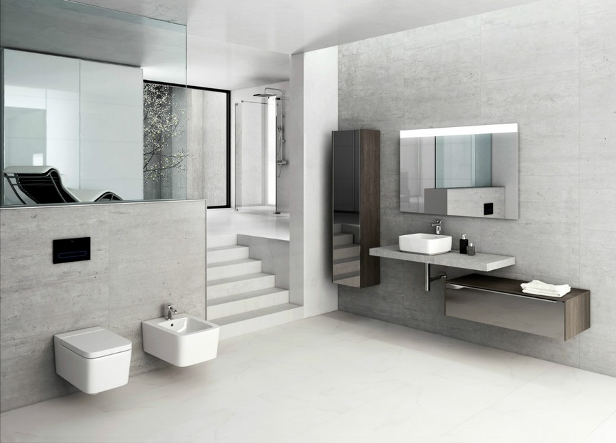 6-3-Roca-beige-bathroom-interior-design-wash-basin-vanity-unit-toilet-gray-faux-concrete-cement-wall-tiles-wall-mounted-toilet-bidet-cabinet-mirrored-cabinets