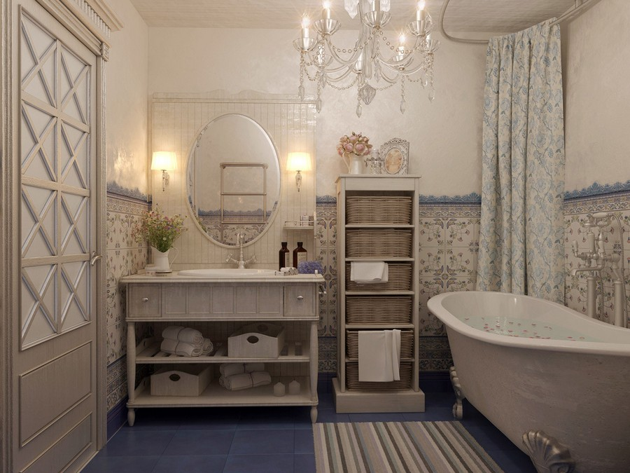 6-French-style-bathroom-interior-design-ideas-light-pastel-colors-romantic-wash-basin-wooden-vanity-unit-bathtub-clawfoot-stripy-rug-crystal-chandelier-oval-mirror-wall-lamps-sconces-flowers-curtains-floral
