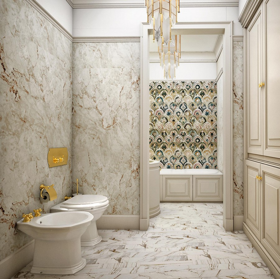 6-contemporary-neo-classical-interior-design-beige-bathroom-faux-marble-wall-tiles-cabinets-wardrobes-bidet-toilet-brass-accessories-handmade-wall-tiles-two-zones-doorway-bathtub-cornices-crown-moldings-panelling