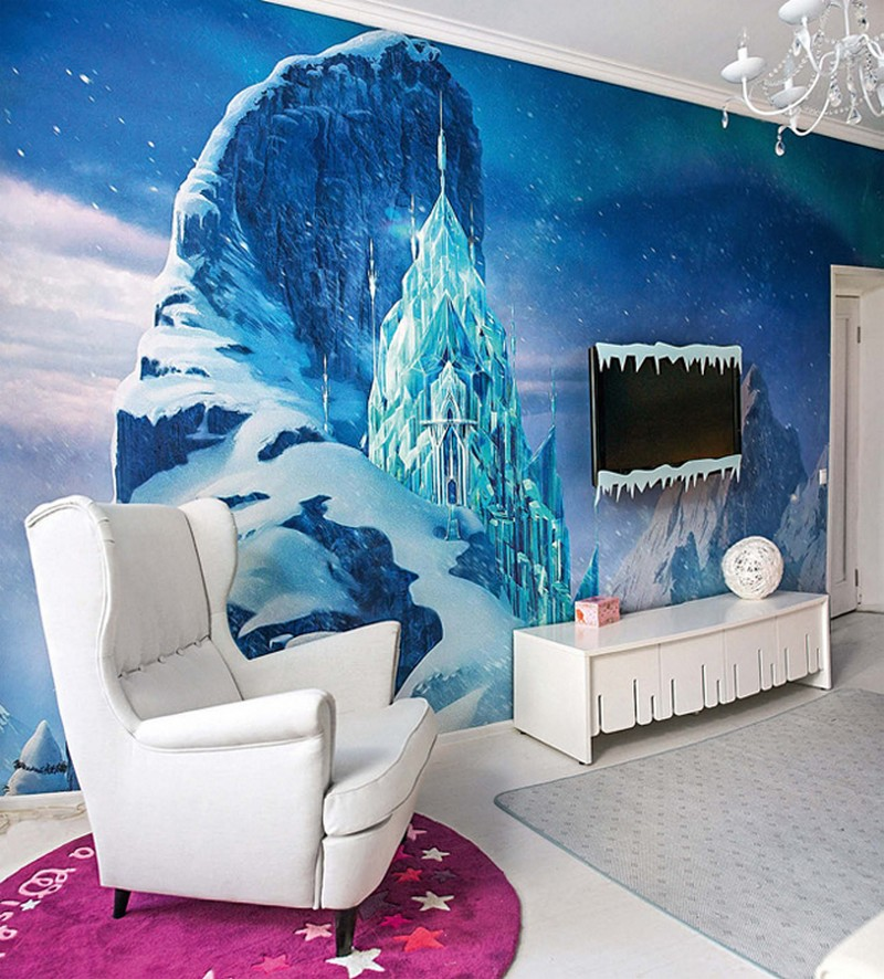 6-white-blue-purple-kid's-girl's-room-bedroom-interior-design-Frozen-film-princess-Elsa-ice-castle-round-rug-arm-chair-with-ears-TV-set-icicle-decor-winter-theme-wall-covering-mural-fresco-chandelier-crystal-pendants