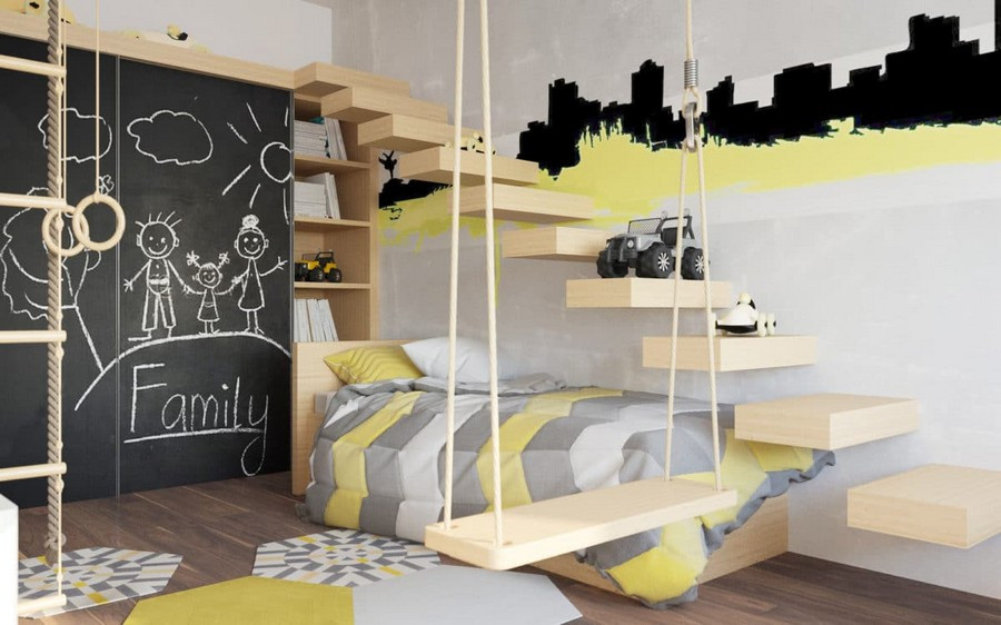7-2-kids-toddler-room-bedroom-playroom-interior-design-idea-boy's-light-wood-furniture-white-walls-yellow-and-black-accents-wal-stickers-chalkboard-wardrobe-doors-swing-gym-wall-bar-stairs-rug