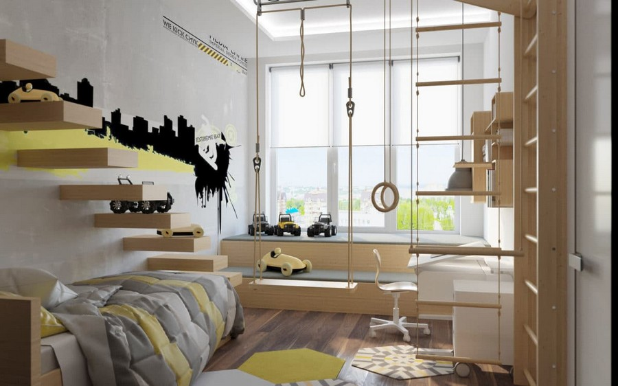 7-3-kids-toddler-room-bedroom-playroom-interior-design-idea-boy's-light-wood-furniture-white-walls-yellow-and-black-accents-wal-stickers-swing-gym-wall-bar-stairs-work-desk-bookshelves-bed-window-podium-seat-bench