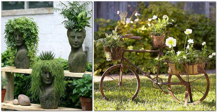 7-creative-garden-decor-ideas-flowers-busts-succulents-outdoor-composition-old-bicycle-re-use