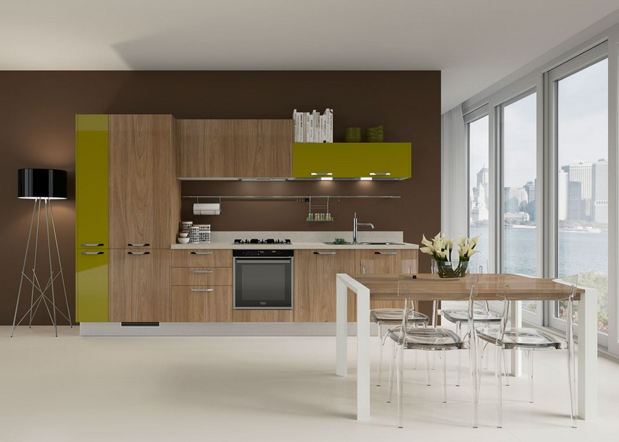 7-low-top-kitchen-wall-cabinets-different-height-faux-wood-mustard-yellow-bi-color-furniture-set-dining-room-transparent-chairs-panoramic-windows