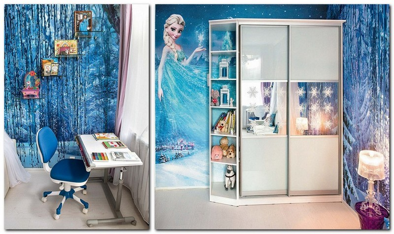 7-white-blue-purple-kid's-girl's-room-bedroom-interior-design-Frozen-film-built-in-closet-with-sliding-doors-shelves-tempered-glass-writing-desk-wheeled-chair-Elsa-wall-covering-mural-wallpaper-fresco