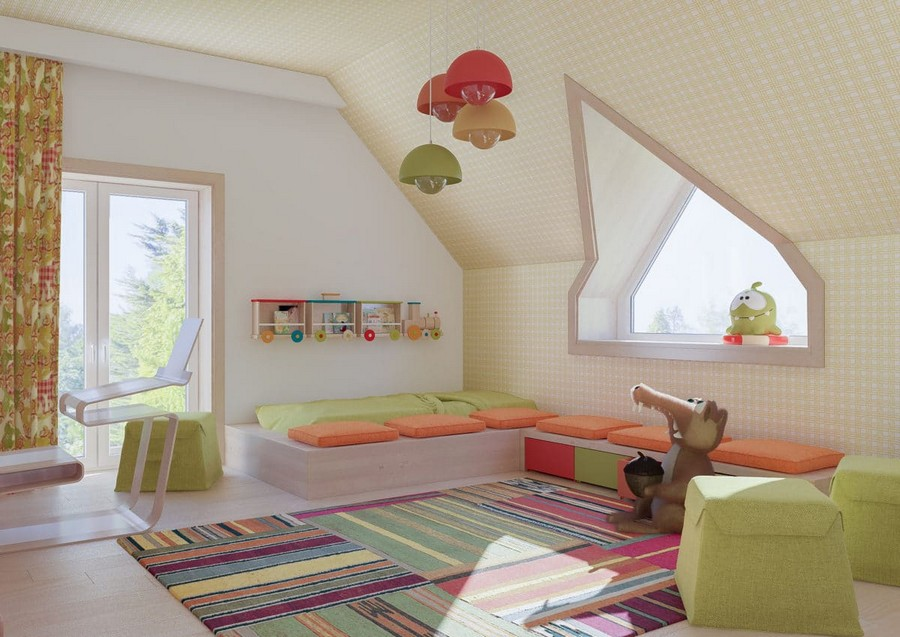 8-1-kids-toddler-room-playroom-interior-design-idea-seat-bench-cushions-attic-floor-sloped-ceiling-orange-green-accents-stripy-rug-train-shaped-bookshelf-suspended-lamps-work-desk-ottomans-squirrel-Ice-Age