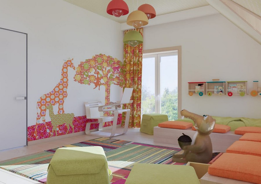 8-2-kids-toddler-room-playroom-interior-design-idea-bench-cushions-attic-floor-sloped-ceiling-orange-green-accents-stripy-rug-train-shaped-bookshelf-suspended-lamps-work-desk-ottoman-squirrel-Ice-Age-Africa-mural