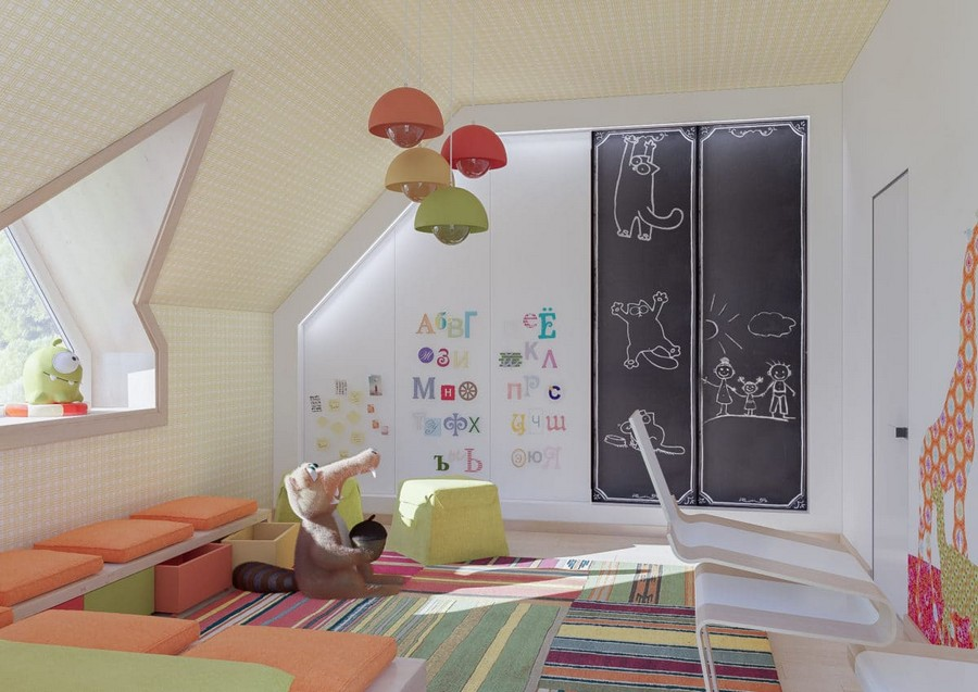 8-3-kids-toddler-room-playroom-interior-design-idea-seat-bench-cushions-attic-floor-sloped-ceiling-orange-green-accents-stripy-rug-suspended-lamps-ottomans-squirrel-Ice-Age-chalkboard-wall