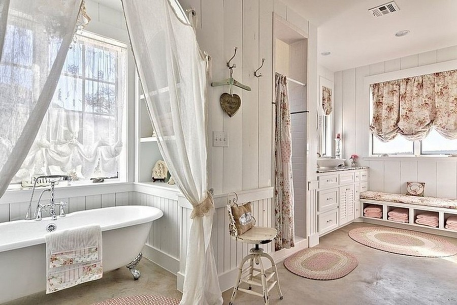 8-French-style-bathroom-interior-design-ideas-light-pastel-colors-romantic-wash-basin-wooden-vanity-unit-bathtub-big-windows-sheer-curtains-shower-textile-wicker-rugs-floral-patterns-wooden-walls
