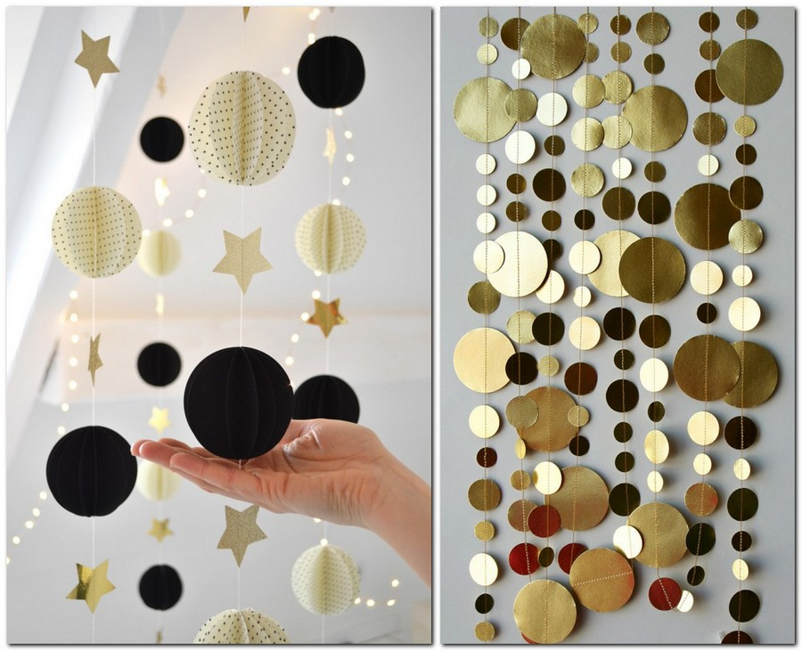 8-handmade-colored-paper-garlands-ideas-home-decor-party-holiday-circles-balls-stars-space-theme-golden