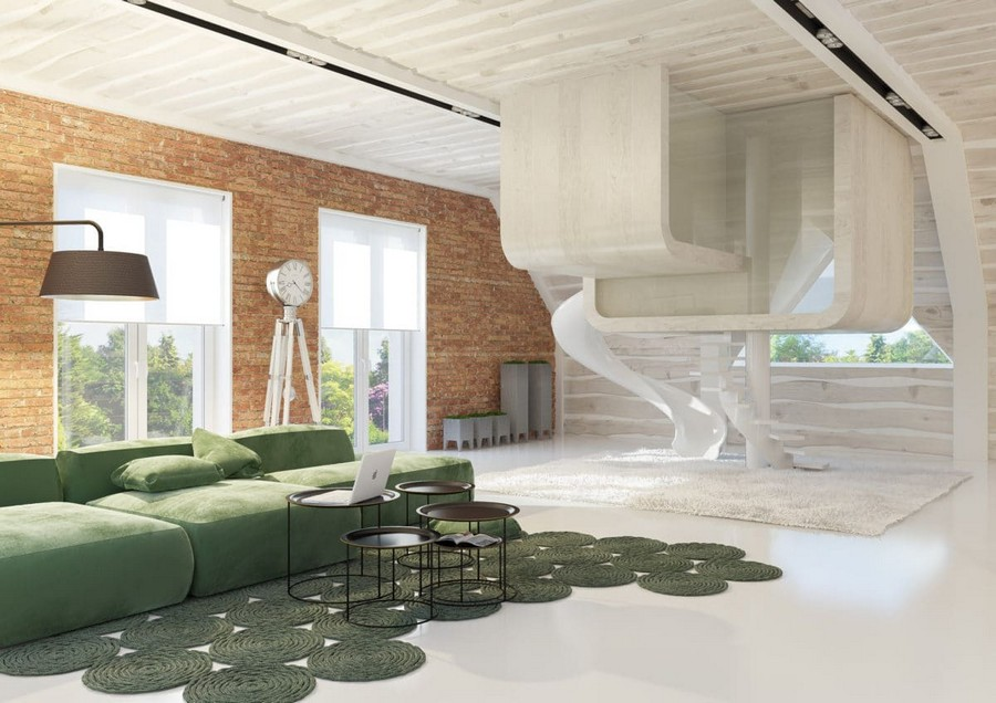 9-1-kids-toddler-room-playroom-interior-attic-floor-lounge-design-idea-loft-style-futuristic-game-play-house-glass-cube-faux-brick-wall-panoramic-windows-open-space-green-corner-sofa-floor-lamp-rug