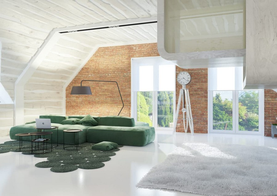 9-2-attic-floor-lounge-room-interior-design-idea-loft-style-futuristic-game-play-house-glass-cube-faux-brick-wall-panoramic-windows-open-space-green-corner-sofa-floor-lamp-rug-shaggy-coffee-tables