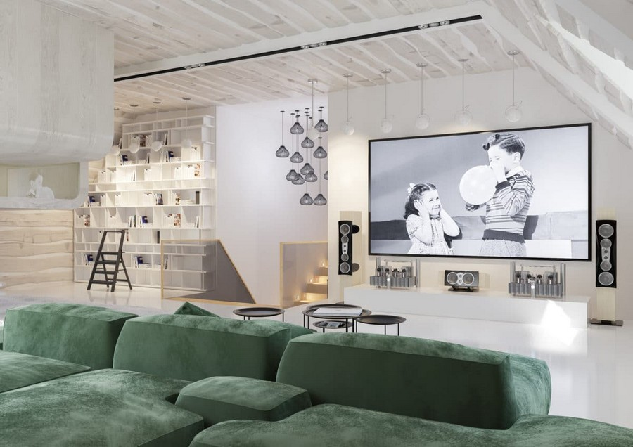 9-3-attic-floor-lounge-room-interior-design-idea-loft-style-open-space-green-corner-sofa-big-home-movie-cinema-TV-set-shelving-unit-suspended-lamps-sloped-ceiling-wooden-wall-panels