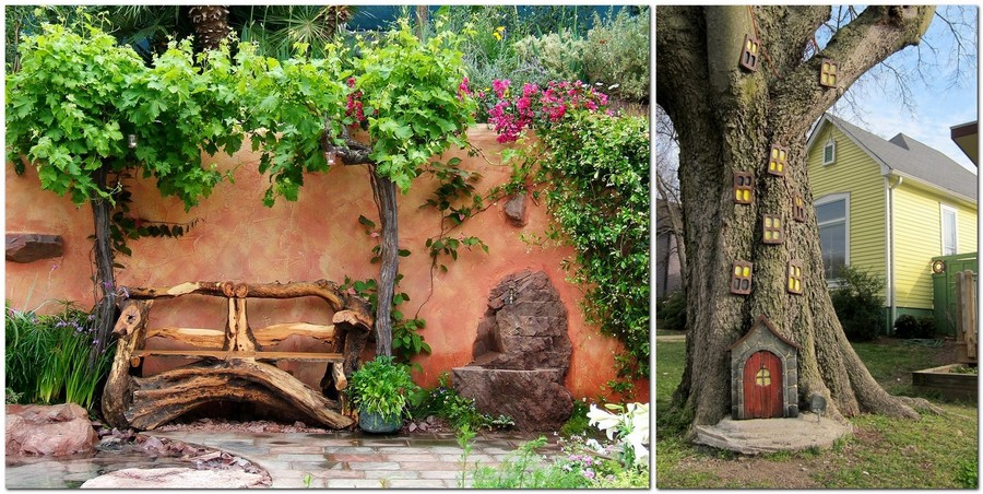 9-creative-garden-decor-ideas-wooden-bench-tree-decoration-house-windows-door-tiny-composition