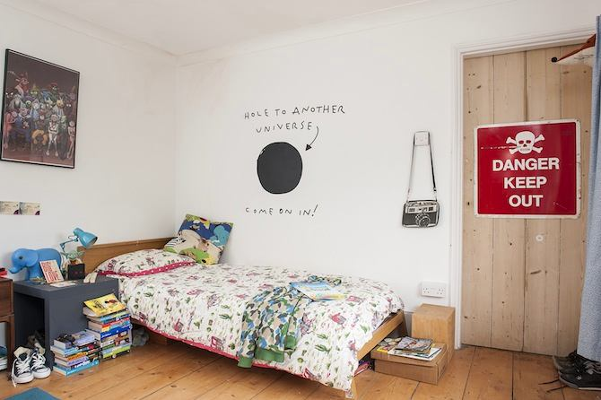 9-old-country-house-interior-design-vintage-style-wooden-floor-kids'-boy's-bedroom-room-wooden-door-warning-sign-bed-white-walls