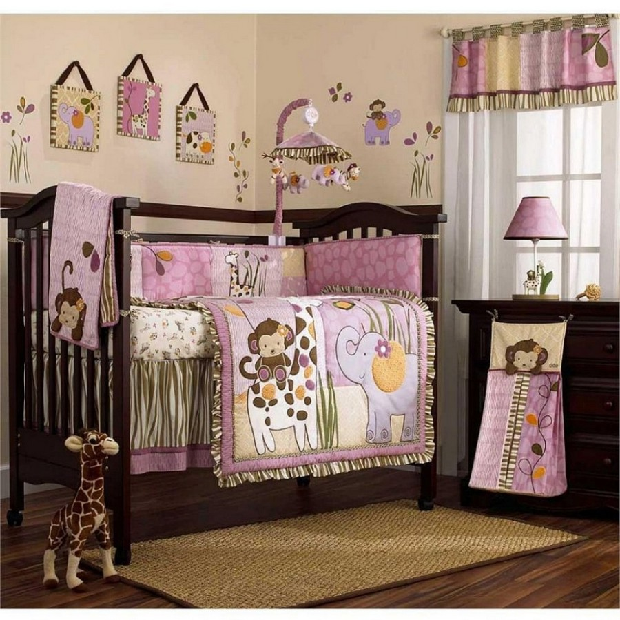 0-baby-bed-cot-lilac-with-giraffes-elephants-monkeys-removable-drop-side-mobile-dark-wood