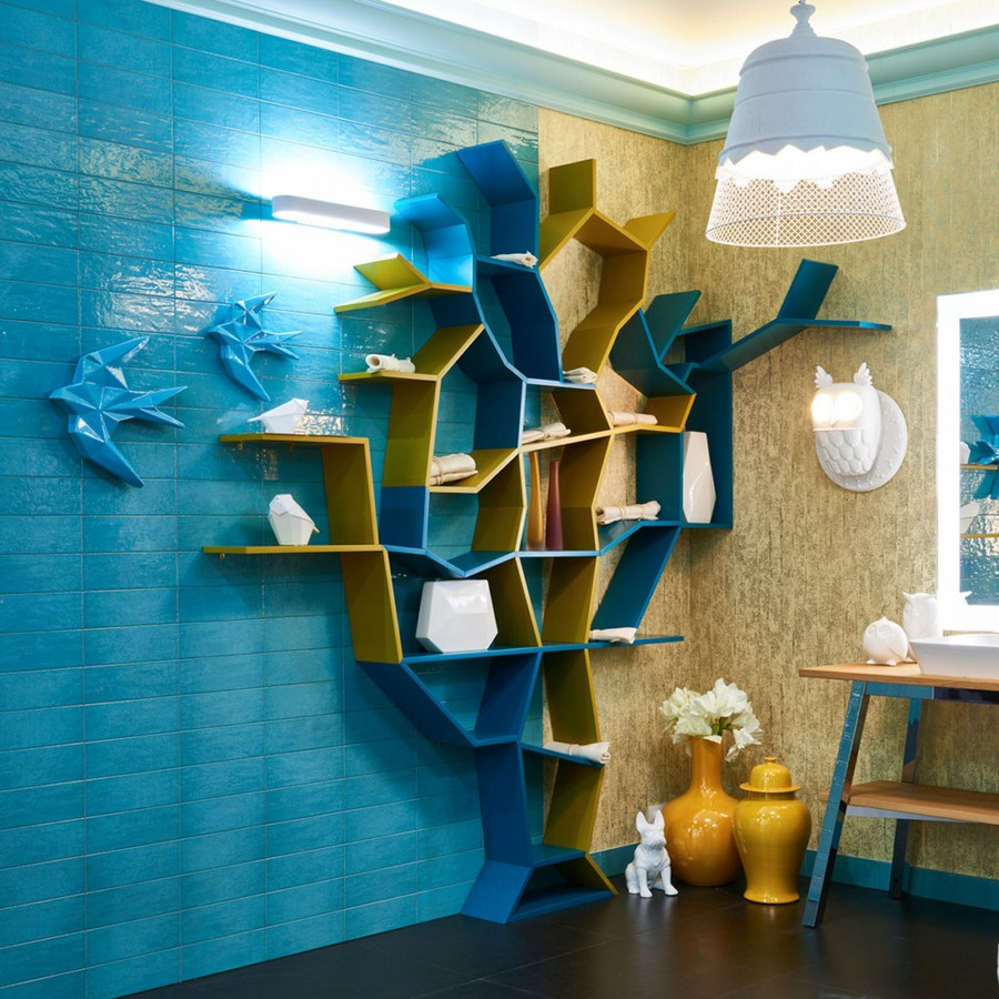 0-creative-bathroom-interior-design-eclectic-eco-style-shelving-unit-tree-shaped-turquoise-blue-glazed-wall-tiles-golden-wallpaper-Omexco-vanity-unit-mirror-with-lighting-by-Duravit-owl-sconce-pendant-lamp