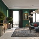 0-modern-classical-style-living-room-interior-design-dark-green-wall-black-curtains-whitewashed-floor-ironic-artworks-potted-plants-carpet-contemporary-curved-sofa-coffee-table-TV-set-chandeliers