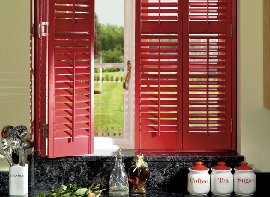 0-shutters-country-home-kitchen-window-red-black-marble-worktop-sugar-tea-coffee-jars-utensils-organizer