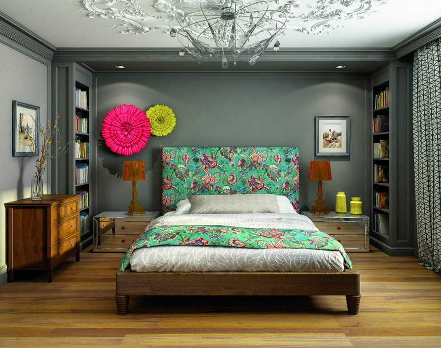 1-2-contemporary-style-bedroom-interior-design-upholstered-bed-green-floral-headboard-ju-ju-hats-asymmetrical-wall-decor-mirrored-bedside-tables-chest-of-drawers-lamps-ceiling-medallion-classical-shelves-g