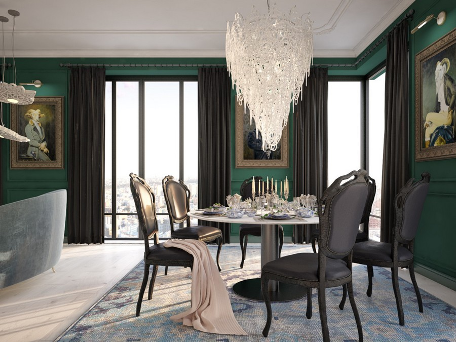 1-2-open-plan-dining-room-interior-design-modern-classical-style-gorgeous-luxurious-chandelier-dining-table-black-chairs-panoramic-windows-dark-green-walls-artworks-carpet-white-ceiling-floor