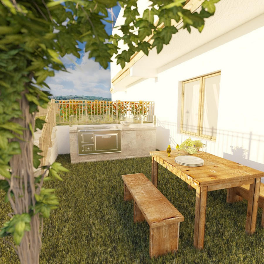 1-Mojito-Club-Holiday-Residence-apartment-hotel-Bulgaria-exterior-design-backyard-garden-grape-wines-wooden-dining-table-benches-outdoor-cooker-fireplace-stove-oven-white-wall