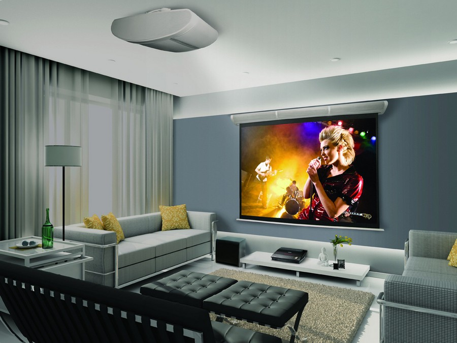 1-home-theater-home-cinema-movies-in-interior-design-contemporary-style-living-room-gray-walls-symmetrical-sofas-black-footrest-coffe-table-projector-floor-lamp-curtains-yellow-throw-pillows