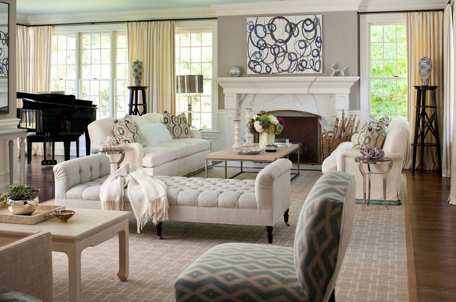 1-traditional-American-style-living-room-lounge-interior-design-geometric-rug-white-marble-fireplace-sofas-couch-capitone-arm-chair-piano-coffee-table-big-windows-country-house