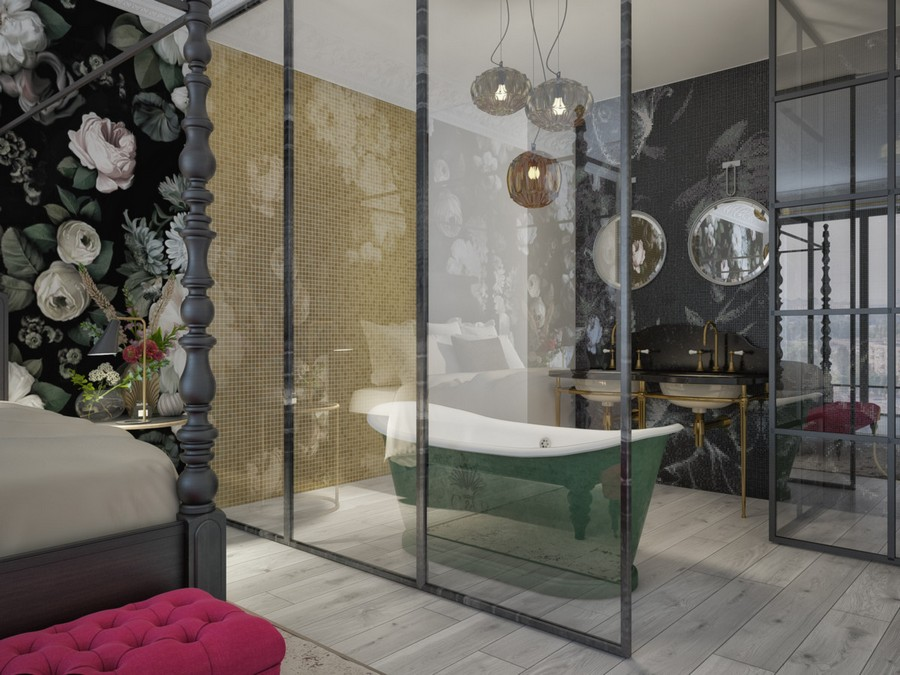 2-2-glass-wall-sliding-door-between-bedroom-and-bathroom-dark-green-bath-bathtub-black-mosaic-wall-tiles-double-sink-brass-vanity-unit-walk-in-shower-floral-wallpaper-pink-ottoman