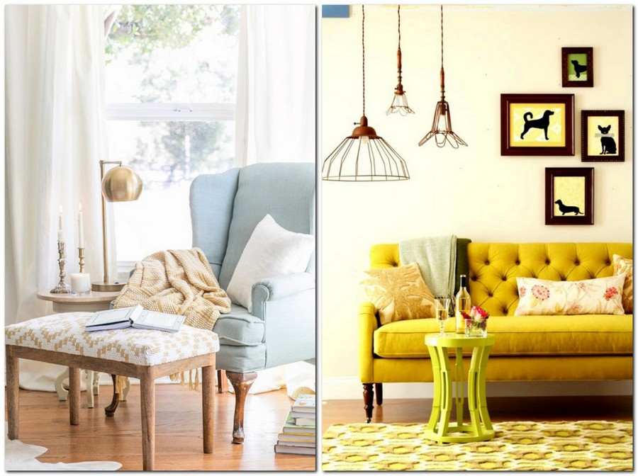 2-beautiful-cozy-living-room-interior-design-ideas-light-blue-arm-chair-geometrical-ottoman-mustard-yellow-sofa-coffee-table-pendant-lamps-capitone