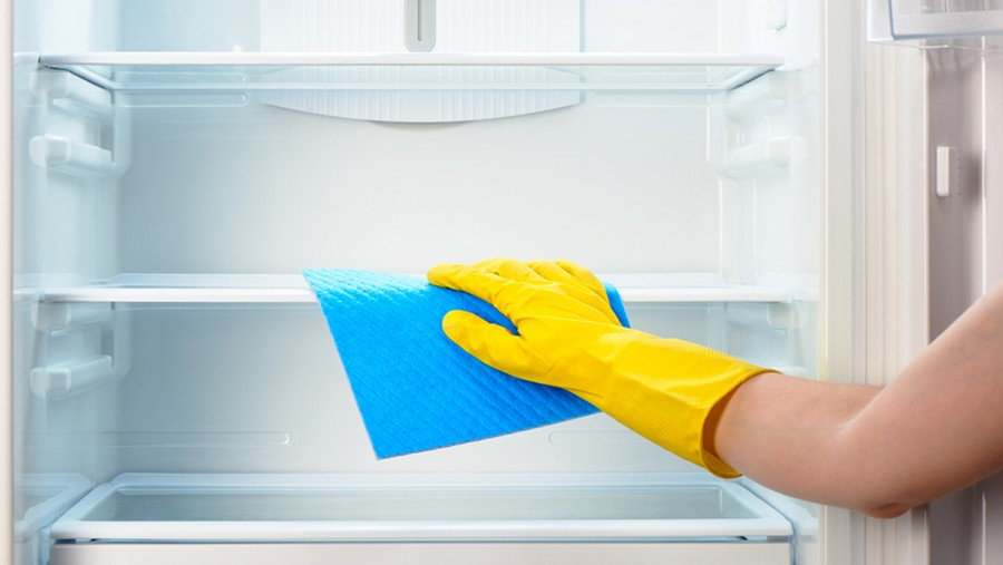2-cleaning-refrigerator-fridge-interior-shelves-hand-in-blue-rubber-gloves