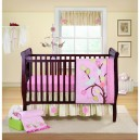 2-dark-wood-baby-bed-cot-adjustable-base-height-pink-mattress-linen-emroidered-blanket-mobile-shelves-pictures-rug