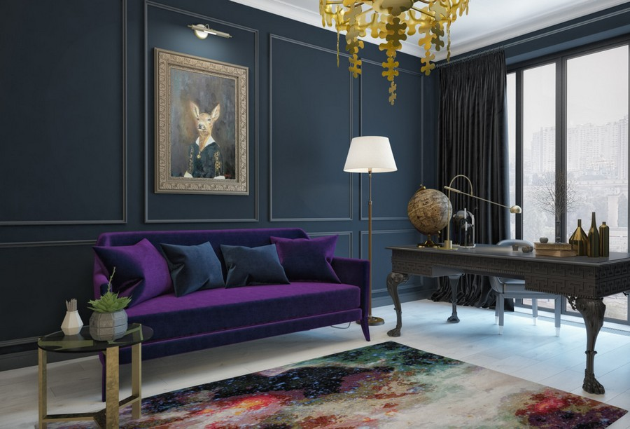 3-1-eclectic-modern-classical-style-study-home-office-interior-design-purple-velvet-sofa-space-rug-brass-decor-dark-green-walls-panelling-artwork-chandelier-clawfoot-writing-desk-globe-black-curtains