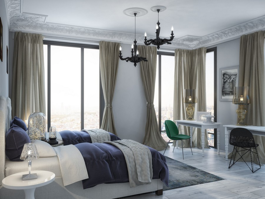 3-2-classical-style-kid's-room-for-two-girls-symmetrical-furniture-arrangement-two-white-beds-panoramic-windows-beige-curtains-light-gray-walls-two-writing-desks-lamps-green-chair-black-chandelier-crown