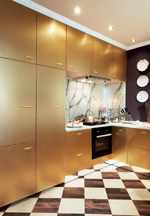 3-French-Parisian-style-kitchen-interior-design-golden-plastic-3D-wavy-pattern-cabinets-chessboard-cork-floor-pattern-lavender-purple-walls-faux-marble-backsplash-spot-lights