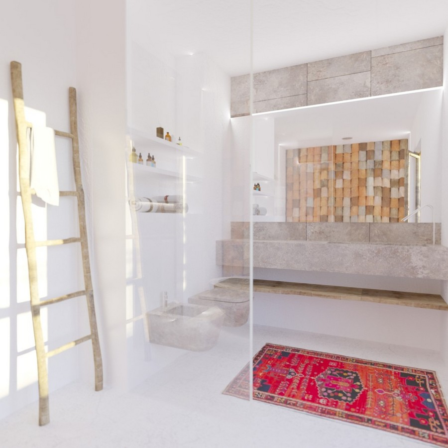 3-Mojito-Club-Holiday-Residence-apartment-hotel-room-Bulgaria-eco-style-interior-design -with-ethnic-motifs-rug-big-bathroom-wall-mounted-gray-toilet-bidet-bathtub-by-Boffi-bath-wash-basin-ladder-shelves-white-walls