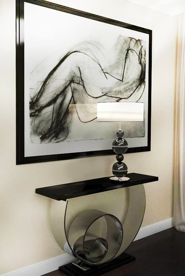 3-contemporary-style-black-geometrical-console-table-lamp-modern-painting-frame-white-baseboard-dark-floor-beige-wall
