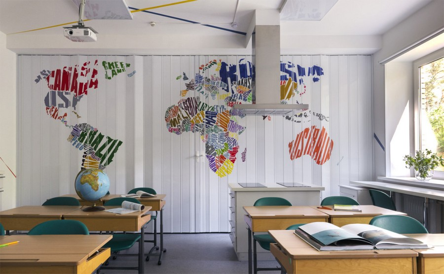 3-multifunctional-creative-beautiful-school-laboratory-interior-design-for-geography-classes-handmade-painted-acrylic-world-map-bright-multi-colored-folding-doors-desks-kitchen-island