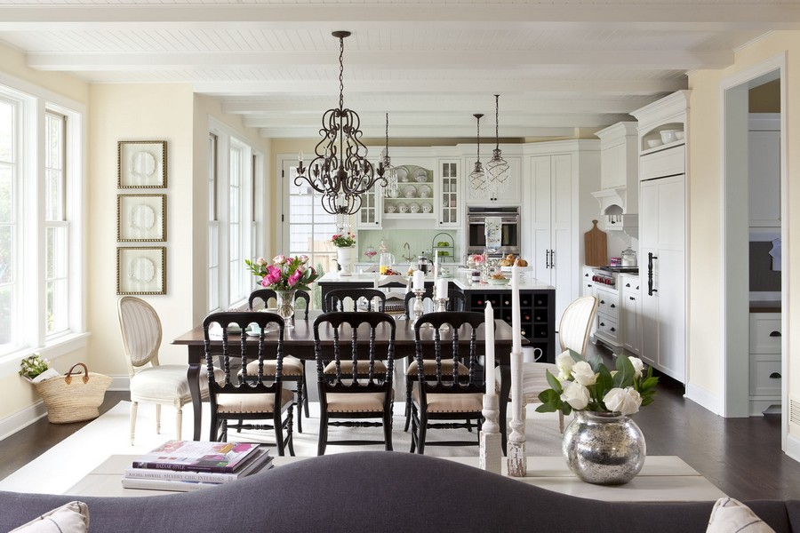 3-open-plan-space-white-traditional-style-kitchen-cabinets-dining-room-panoramic-windows-country-house-dark-wooden-table-chairs-sofa-island-cupboard-display-cabinets-glass