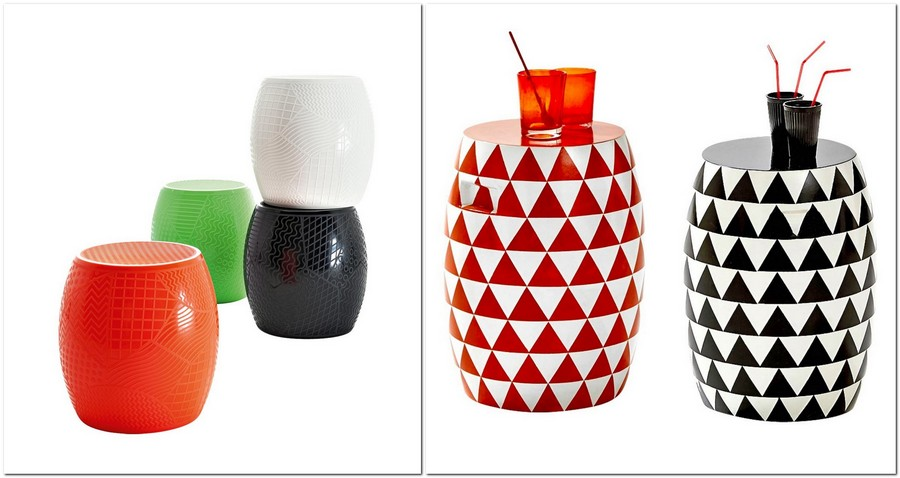 3-outdoor-furniture-bright-stools-multi-color-triangles-geometrical-motifs-Roy-by-Kartell-by-La-Redoute