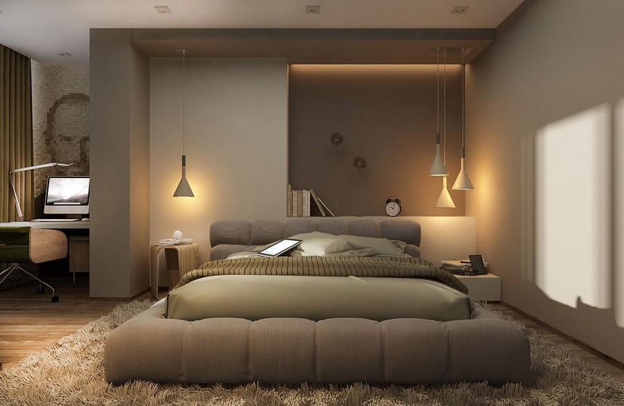 4-1-bedroom-lighting-beige-neutral-interior-work-area-writing-desk-wall-recess-alcove-shaggy-rug-gray-walls