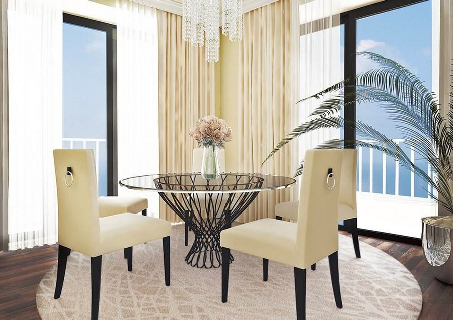 4-1-contemporary-style-dining-room-area-interior-design-panoramic-windows-sea-view-beige-chairs-round-table-glass-top-metal-framework-rug-dark-parquet-palm-glass-chandelier-curtains