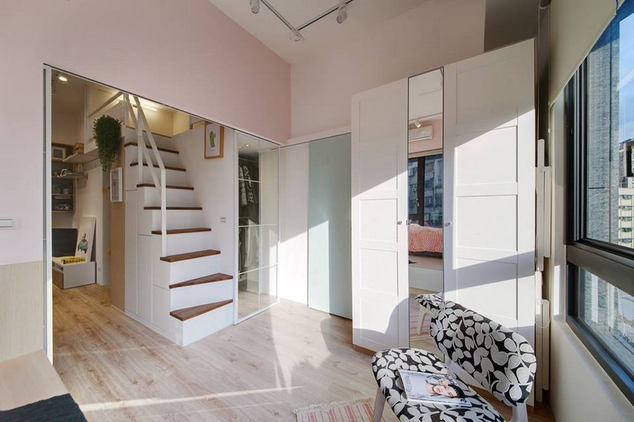 4-1-interior-by-A-Lentil-Design-Taiwan-China-white-walls-light-panoramic-windows-laminate-sliding-doors-attic-mezzanine-loft-room-staircase-glass-wall-walk-in-closet