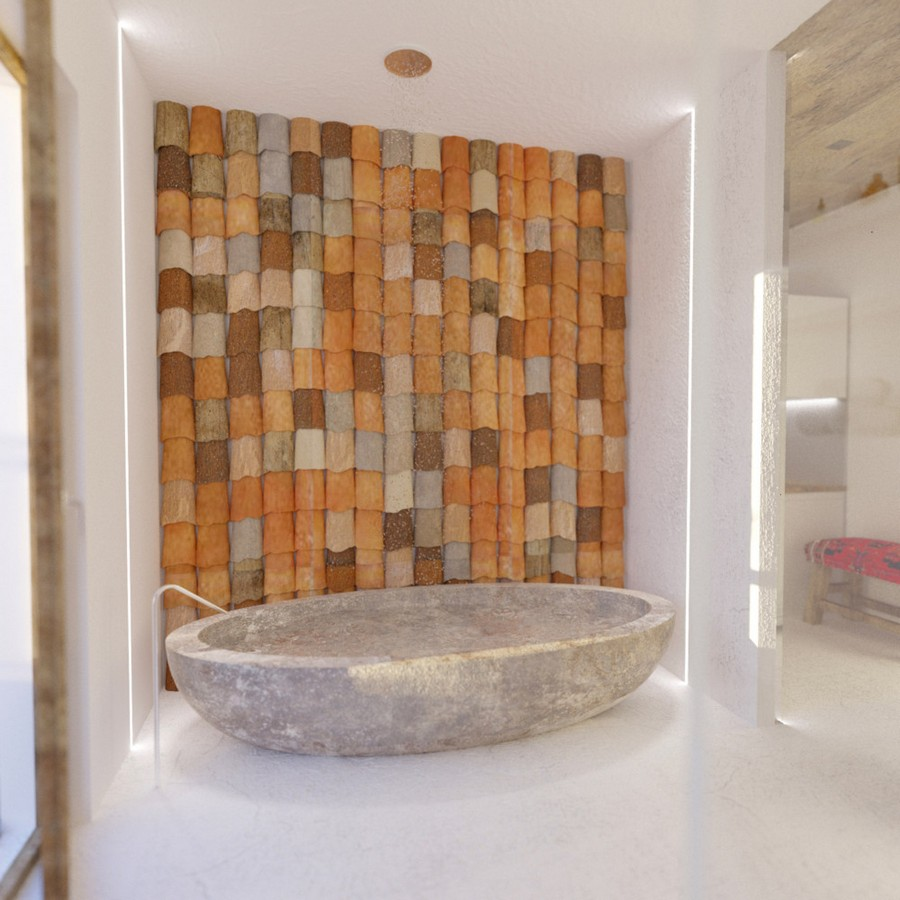 4-Mojito-Club-Holiday-Residence-apartment-hotel-room-Bulgaria-eco-style-interior-design -with-ethnic-motifs-bathroom-tiling-wall-ceramic-bathtub-bath-by-Boffi-oval-free-standing-glass-wall-ceiling-mounted-shower-head-white